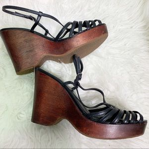 Steve Madden wood/leather platform wedge.